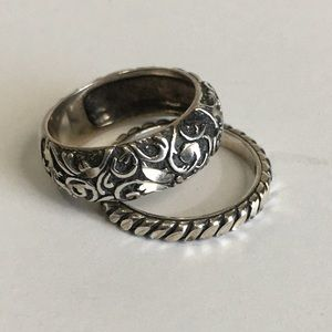 Sterling Silver Stackable Rings Engraved - Sz 6.5